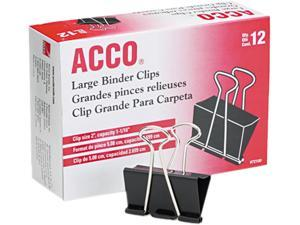 "Acco 72100 Large Binder Clips, Steel Wire, 5/16"" Capacity, 2""w, Black/Silver, Dozen"