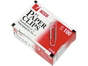 Acco 72320 Smooth Economy Paper Clip, Steel Wire, No. 3, Silver, 100/Box, 10 Boxes/Pack