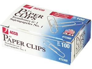 Acco 72360 Smooth Finish Premium Paper Clips, Wire, No. 1, Silver, 100/Box, 10 Boxes/Pack