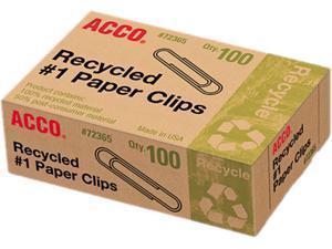 """Acco Paper Clip, Standard (# 1 size) - 1.28"""" Width - 100 / Box - Silver"""