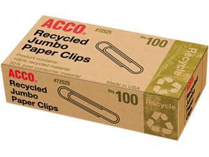 "Acco Recycled Paper Clip Jumbo - 1.56"" Width - 100 / Box - Silver"