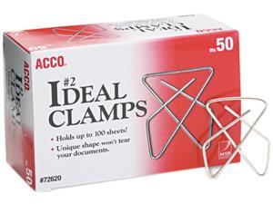 "Acco 72620 Ideal Clamps, Steel Wire, Small, 1-1/2"", Silver, 50/Box"