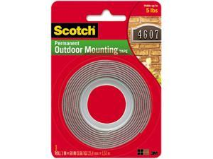 Scotch 4011 Exterior Weather-Resistant Double-Sided Tape, 1 x 60, Gray w/Red Liner