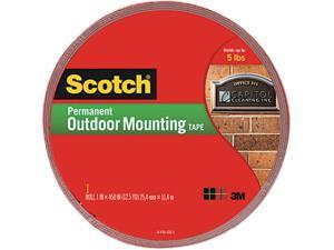 Scotch 4011-LONG Exterior Weather-Resistant Double-Sided Tape, 1 x 450, Gray w/Red Liner