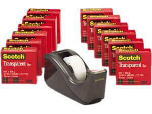 "Scotch 600K-C60 C60 Desktop Dispenser/12 Rolls Transparent Glossy Tape, 1"" core, Black"