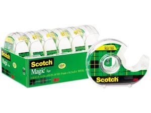 "Scotch 6122 Magic Office Tape & Refillable Dispenser, 3/4"" x 650"", Clear, 6/Pack"