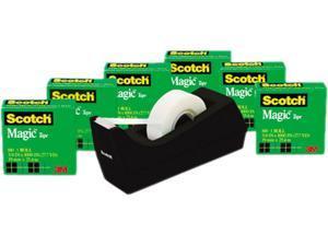 """Scotch 810K6C38 Magic Tape Value Pack w/Dispenser, 3/4"""" x 1000"""", 1"""" Core, 6/Pack"""