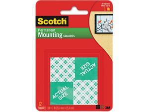 Scotch 111 Precut Foam Mounting 1 Squares, Double-Sided, Permanent 16 Squares/Pack