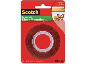 Scotch 4010 Double-Sided Mounting Tape, Industrial Strength, 1 x 60, Clear/Red Liner