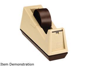 "Scotch C25 Heavy Duty Weighted Desktop Tape Dispenser, 3"" core, Plastic, Putty/Brown"