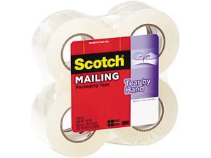 """Scotch 38424 Tear-By-Hand Packaging Tape, 1.88"""" x 50 yards, 1-1/2"""" Core, Clear, 4/Box"""