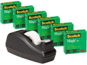 "Scotch 810C40BK C40 Desk Tape Dispenser and 6 Rolls Scotch Magic Tape, 1"" Core, Black"