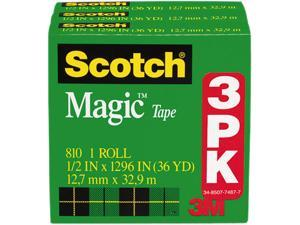 "Scotch MMM810H3 Magic Tape Refill, 1/2"" x 1296"", 1"" Core, Clear, 3/Pack"