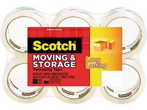 "Scotch Mailing & Storage Tape, 1.88"" x 54.6 yards, 3"" Core, Clear, 6 Rolls/Pack"