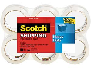 "Scotch 3850 Premiun Packaging Tape Refills, 1.88"" x 54.6 yds, 3"" Core, Clear, 6/Pack"