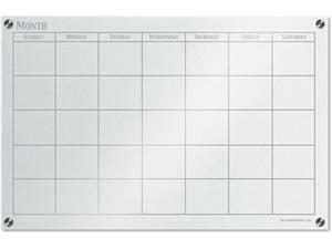 The Board Dudes 46008UA-1 GlassX Frosted Glass Dry Erase Board with Monthly Planner, 35 x 23, Unframed