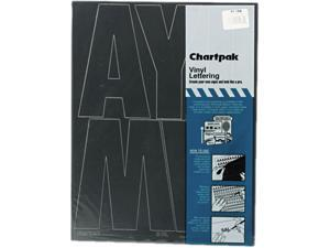 "Chartpak 01184 Press-On Vinyl Uppercase Letters, Self Adhesive, Black, 6""h, 38/Pack"