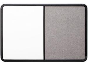 Iceberg 36031 Ingenuity Combo Dry Erase/Fabric Board, Resin Frame, 36 x 24, Black Frame
