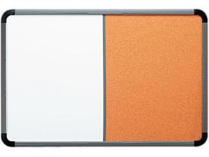 Iceberg 36047 Ingenuity Combo Dry Erase/Cork Board, Resin Frame, 48 x 36, Charcoal Frame