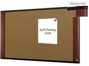 3M C3624MY Cork Bulletin Board, 36 x 24, Mahogany Frame