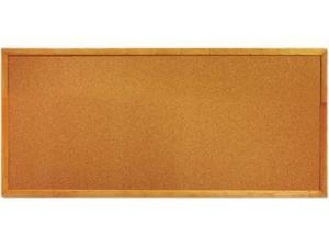 Quartet 300 Slim Line Bulletin Board, Natural Cork/Fiberboard, 12 x 36, Oak Frame