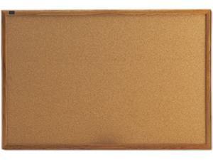 Quartet 303 Cork Bulletin Board, Cork Over Fiberboard, 36 x 24, Natural Oak Frame