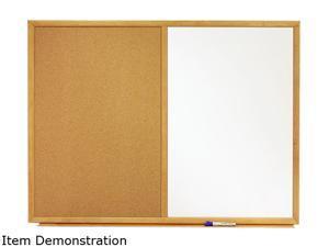 Quartet S553 Combo Bulletin Board, Dry-Erase Melamine/Cork, 36 x 24, White, Oak Frame