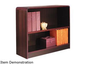 Alera BCR23036MY Radius Corner Bookcase, Wood Veneer, 2-Shelf, 35-3/8w x 11-3/4d x 30h, Mahogany