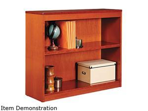 Alera BCS23036MC Square Corner Wood Veneer Bookcase, 2-Shelf, 35-3/8 x 11-3/4 x 30, Medium Cherry