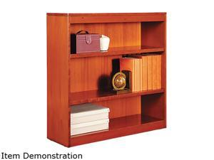 Alera BCS33636MC Square Corner Wood Veneer Bookcase, 3-Shelf, 35-3/8 x 11-3/4 x 36, Medium Cherry