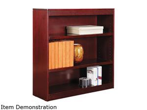 Alera BCS33636MY Square Corner Bookcase, Wood Veneer, 3-Shelf, 35-3/8w x 11-3/4d x 36h, Mahogany