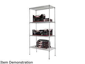 Alera SW50-3618SR Wire Shelving Starter Kit, 4 Shelves, 36w x 18d x 72h, Silver
