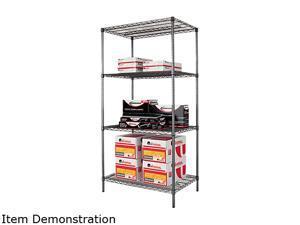 Alera SW50-3624BA Wire Shelving Starter Kit, 4 Shelves, 36w x 24d x 72h, Black Anthracite