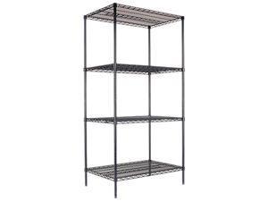 Alera SW50-3624BL Wire Shelving Starter Kit, 4 Shelves, 36w x 24d x 72h, Black