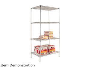 Alera SW50-3624SR Wire Shelving Starter Kit, 4 Shelves, 36w x 24d x 72h, Silver