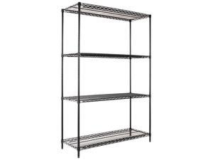 Alera SW50-4818BL Wire Shelving Starter Kit, 4 Shelves, 48w x 18d x 72h, Black