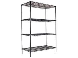 Alera SW50-4824BL (ALESW504824BL) Wire Shelving Starter Kit, 4 Shelves, 48w x 24d x 72h, Black