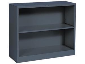 HON S30ABCS Metal Bookcase, 2 Shelves, 34-1/2w x 12-5/8d x 29h, Charcoal