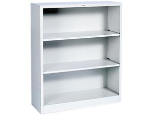HON S42ABCQ Metal Bookcase, 3 Shelves, 34-1/2w x 12-5/8d x 41h, Light Gray