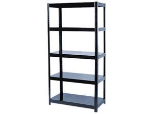Safco 5245BL Boltless Steel Shelving, 5 Shelves, 36w x 18d x 72h, Black