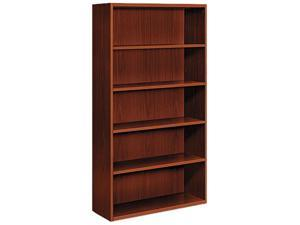 HON Arrive Wood Veneer Five-Shelf Bookcase, 36w x 15d x 71-1/2h, Henna Cherry
