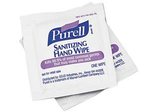 Purell 9022-10BX Premoistened Sanitizing Hand Wipes, 5 x 7, 100/Box