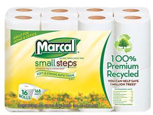 Marcal Small Steps 16466-16-PK 100% Premium Recycled 2-Ply Toilet Tissue, 16 Rolls per Pack