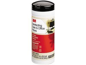3M CL564 Disinfecting Desk & Office Wet Wipes, Cloth, 7 x 8, 25/Canister