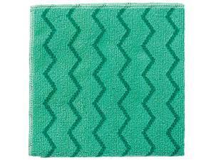 Rubbermaid Commercial Q620 Reusable Cleaning Cloths, Microfiber, 16 x 16, Green, 12/Carton