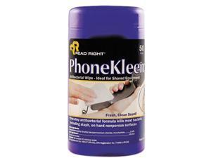 Read Right RR1403 PhoneKleen Wet Wipes, Cloth, 5 x 6, 50 per Tub