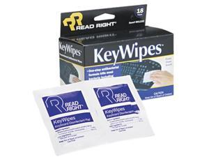 Read Right RR1233 KeyWipes Keyboard & Hand Cleaner Wet Wipes, 5 x 6 7/8, 18/Box