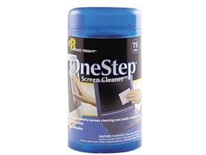 Read Right RR1409 OneStep CRT Screen Cleaner Wet Wipes, Cloth, 5-1/4 x 5-3/4, 75/Tub