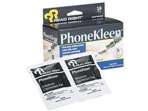Read Right RR1203 PhoneKleen Wet Wipes, Cloth, 5 x 5, 18/Box
