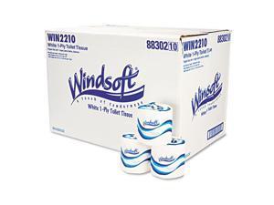 Windsoft 2210 Single Roll Bath One-Ply Bath Tissue, 1000 Sheets/Roll, 96 Rolls/Carton